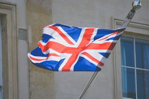 union jack flag flying