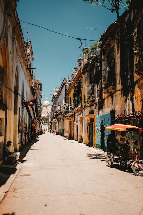 street of shops in cuba
