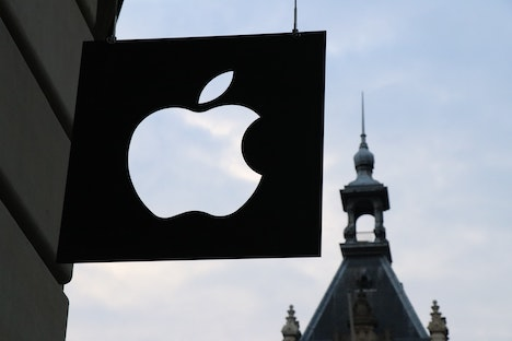apple logo on front of store