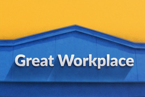walmart great workplace sign on building